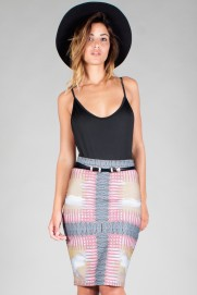 "ZIP MIDI PENCIL SKIRT ""TEXJAM"""