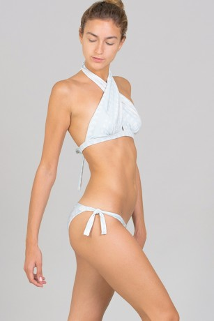 BIKINI TOP CROSSED FRONT - DAZZLE LIGHT BLUE