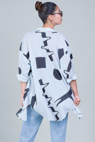 LONG BLOUSE - XL DAZZLE LIGHTBLUE